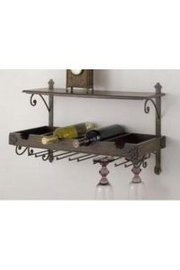 Antique Wood Wine Rack & Shelf