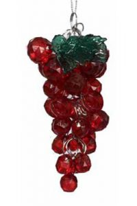 Red Beaded Grape Ornament